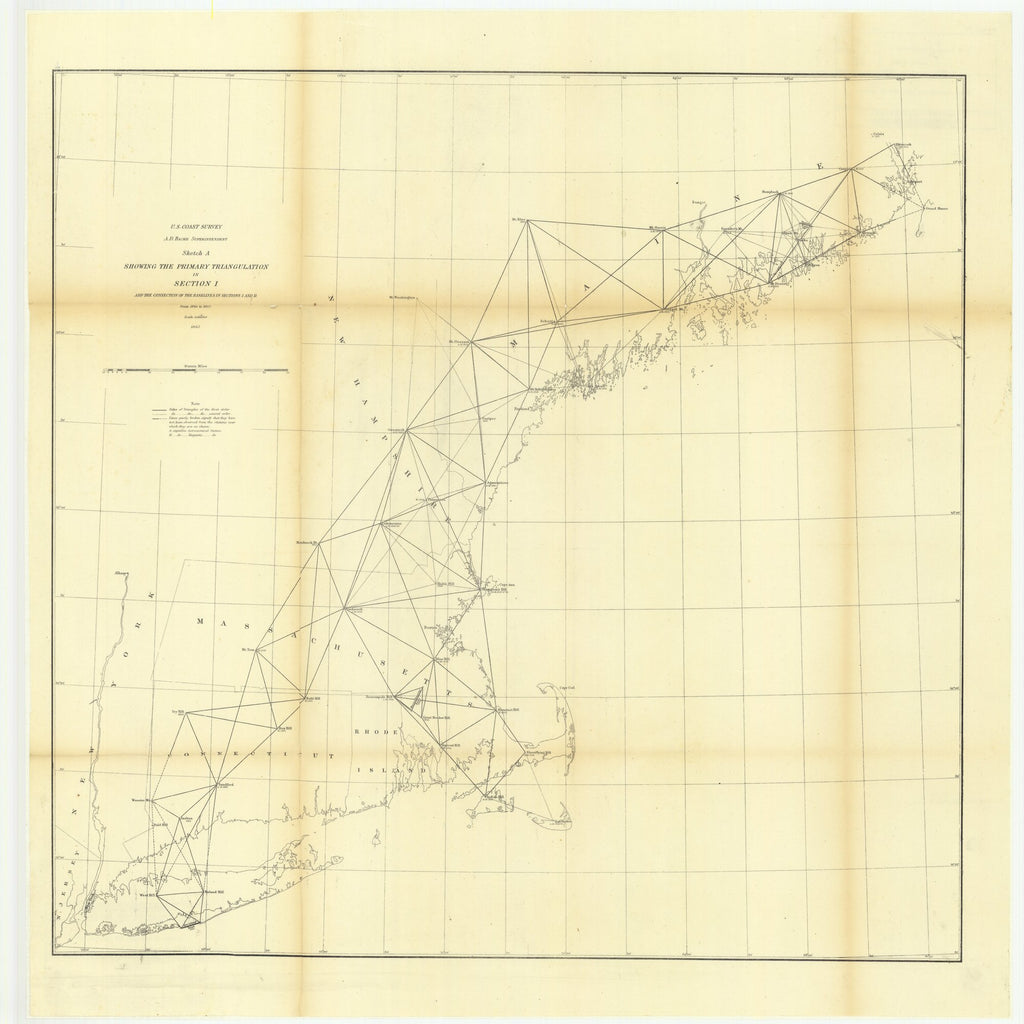 18 x 24 inch 1863 New Jersey old nautical map drawing chart of Sketch A Showing the Primary Triangulation in Section 1 and the Connection of the Baselines in Section 1 and 2 from 1844 to 1863 From  U.S. Coast Survey x7427