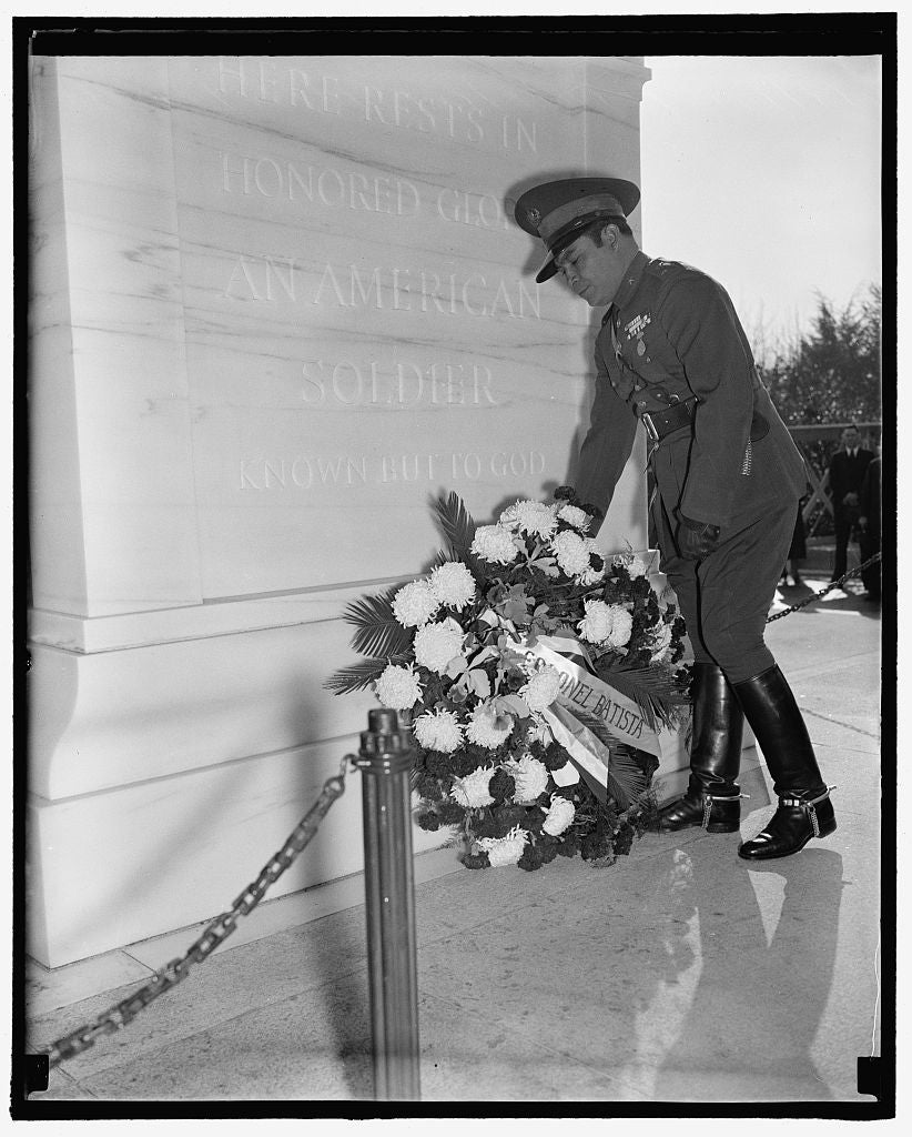 8 x 10 Reprinted Old Photo of Pays Homage To America's Unknown Soldier. Washington, D.C., Nov. 12. Cuba's Dictator, Col. Fulgencio Batista, Placing A Wreath On The Tomb Of The  1938 Harris & Ewing 66a