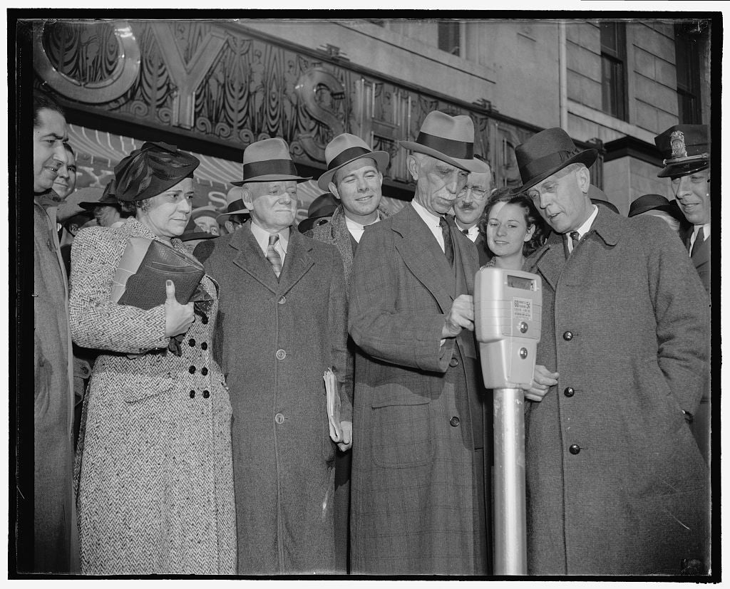 8 x 10 Reprinted Old Photo of Parking Meters For The Nation's Capitol. Washington, D.C., Nov. 14. Commissioner Melvin Hazen And William Van Duzer, Putting The First Nickel In T 1938 Harris & Ewing 74a