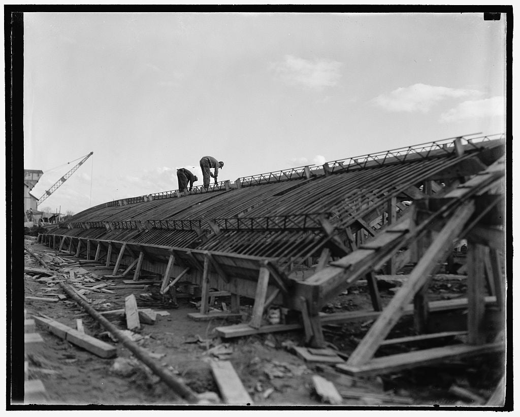 8 x 10 Reprinted Old Photo of Workmen Making Up Sections Of The Vaulted Roof. When The Steel Skeleton Is Completed, It Is Swung Into Position On The Foundation By A Gigantic Cr 1937 Harris & Ewing 78a