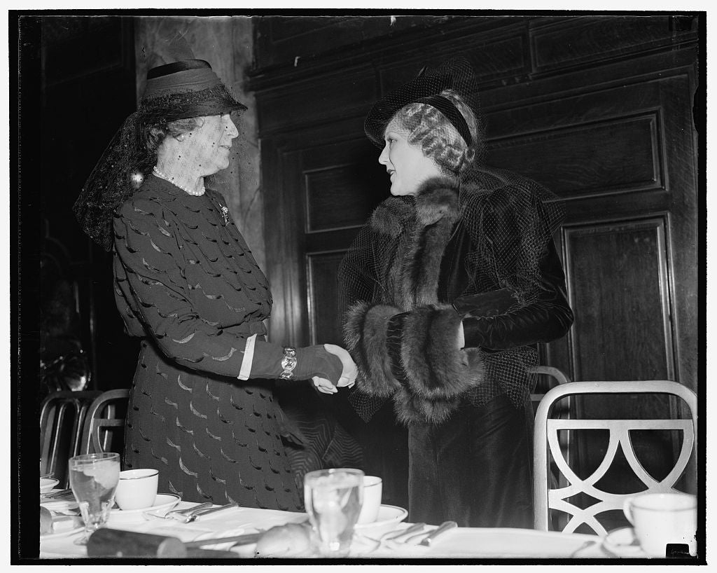 8 x 10 Reprinted Old Photo of Wife Of Secretary Of State Greets Mary Pickford As Both Are Guests Of Newspaper Women. Washington, D.C., Nov. 15. Mrs. Cordell Hull, Wife Of The S 1938 Harris & Ewing 87a