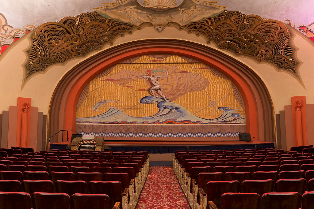 18 x 24 Photograph reprinted on fine art canvas  of Avalon theater located at the Catalina Casino built on the site formerly known as Sugarloaf Point on Catalina Island off the coast of California r87 2013 May by Highsmith,