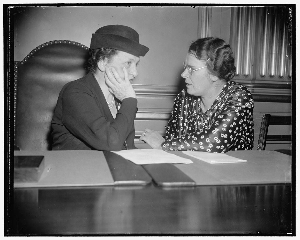 8 x 10 Reprinted Old Photo of Miss Perkins And Clara M. Beyer, Assistant Director Of The Division Of Labor Standard, Department Of Labor, And A Labor Writer Of Some Note. I Was 1939 Harris & Ewing 17a
