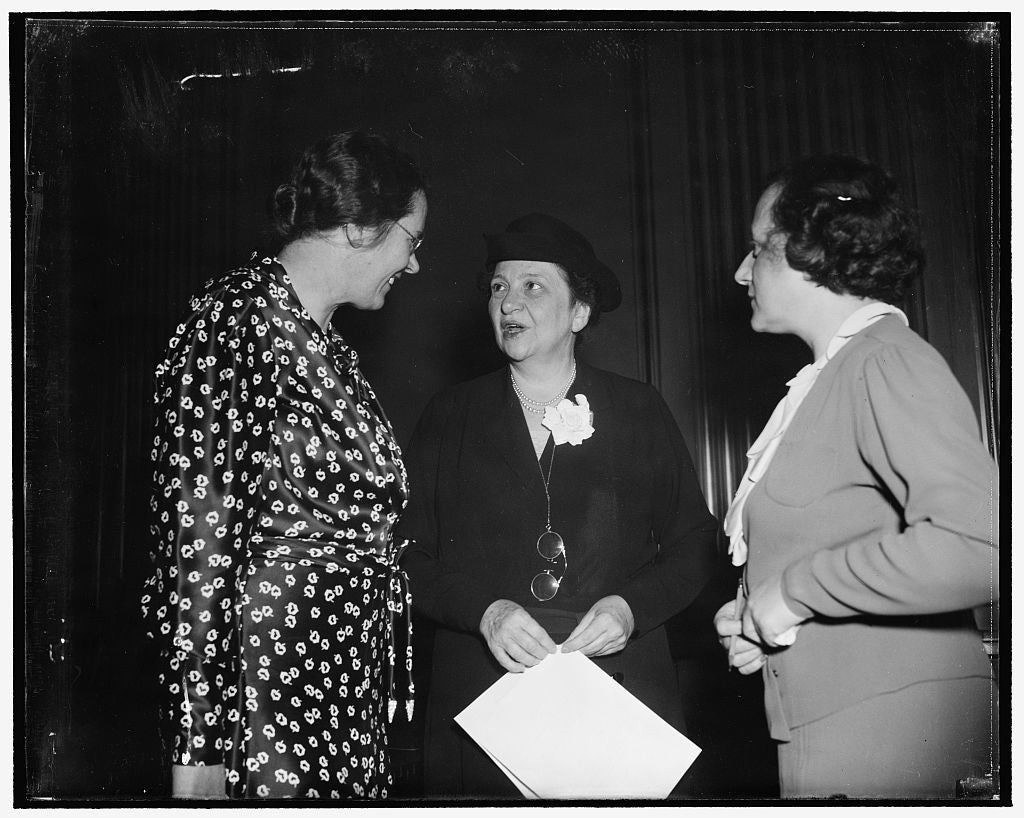 "8 x 10 Reprinted Old Photo of Clara M. Beyer, Miss Perkins, And Miss Perkins' Secretary, Miss Jenkowitz, Known To Fellow Workers As ""Miss J"" 1939 Harris & Ewing 18a"