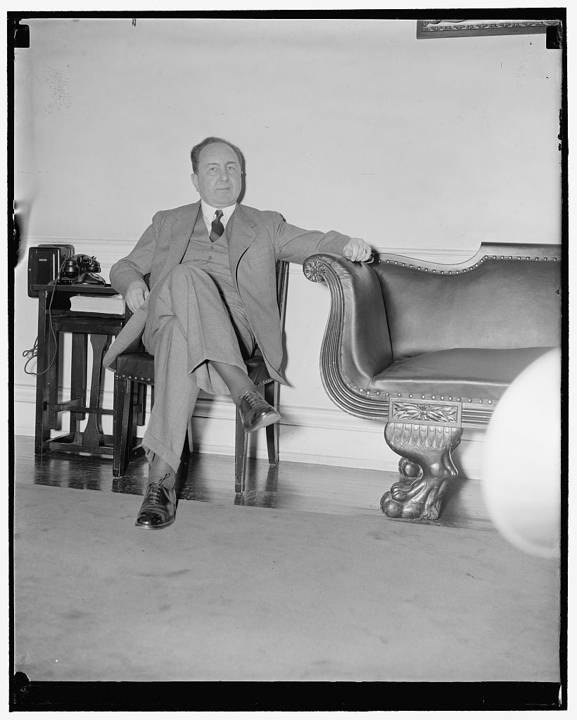 "8 x 10 Reprinted Old Photo of German Ambassador ""Cools His Heels."" Washington, D.C., Nov. 22. German Ambassador Hans Dieckhoff 'Cools His Heels' As He Waits Alone In The Diplom 1938 Harris & Ewing 43a"