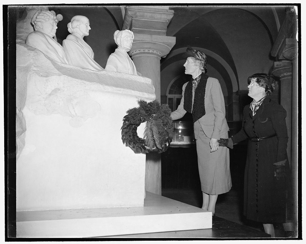 8 x 10 Reprinted Old Photo of Royal Swedish Feminist Lays Wreath At Capitol. Washington, D.C., Nov. 26, 1938. Baroness Ebba Nordenfelt, Left, Member Of The Recently Organized W 1937 Harris & Ewing 55a