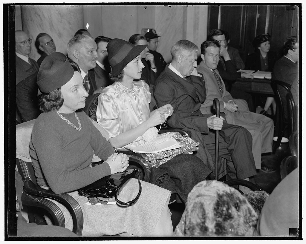 8 x 10 Reprinted Old Photo of Knits And Listens. Washington, D.C., Dec. 2. Without Dropping A Stitch, Mrs. Leon Henderson, Wife Of The Secretary Of The Monopoly Committee, Nonc 1938 Harris & Ewing 07a