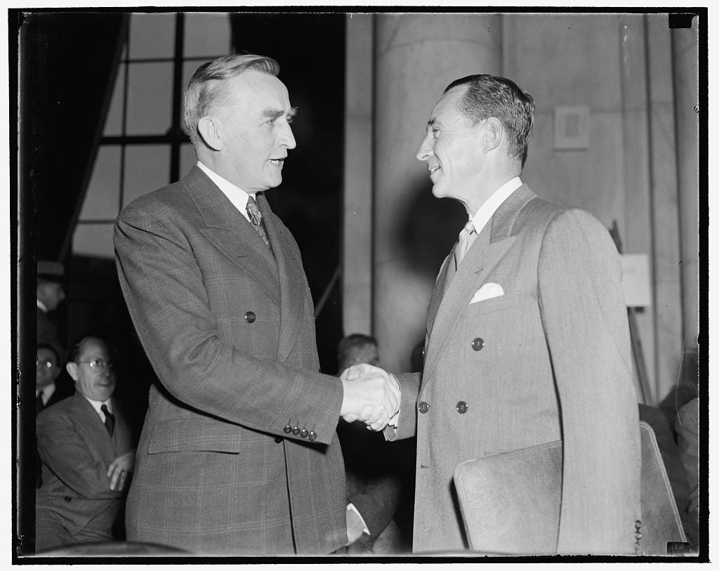 8 x 10 Reprinted Old Photo of Monopoly Chairman Greets Edsal I.E. Edsel Ford. Washington, D.C., Dec. 5. Chairman Of The Monopoly Committee Joseph C. O'Mahoney, Left, Greets Eds 1938 Harris & Ewing 24a