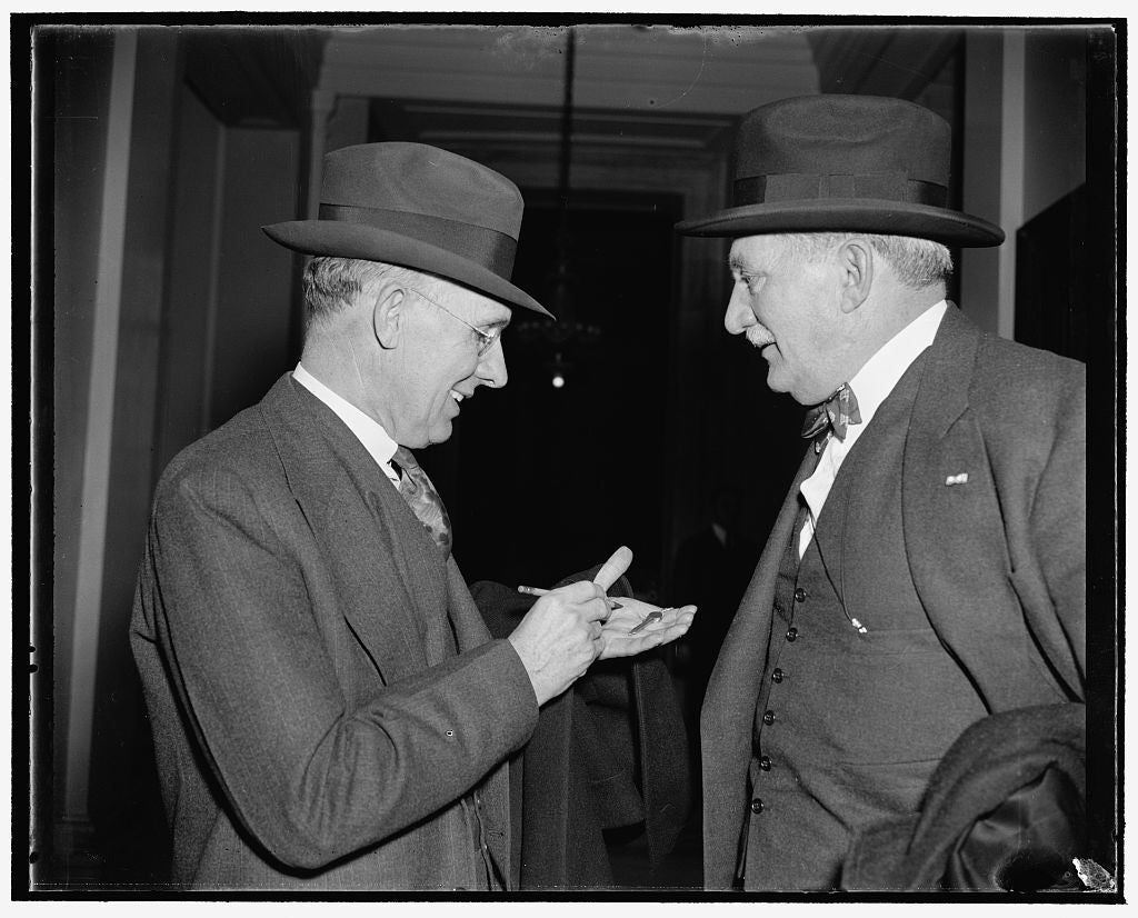 8 x 10 Reprinted Old Photo of Knudson And Kettering After. Washington, D.C., Dec. 6. William S. Knudsen, Right, President, And Charles F. Kettering, Vice President Of The Gener 1938 Harris & Ewing 29a