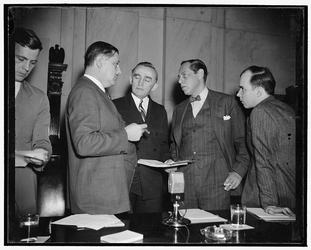 8 x 10 Reprinted Old Photo of Monopoly Huddle. Washington, D.C., Dec. 12. At This Informal Conference Just Before The Monopoly Committee Opened Today's Hearing Can Be Seen, Lef 1938 Harris & Ewing 64a