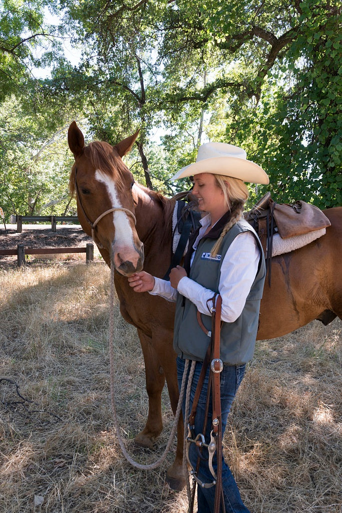 18 x 24 Photograph reprinted on fine art canvas  of Dusty de Braga and his daughter Fallon are working cowpokes who drive cattle on Dye Creek Ranch near Red Bluff California  r16 2013 June by Highsmith, Carol M.,