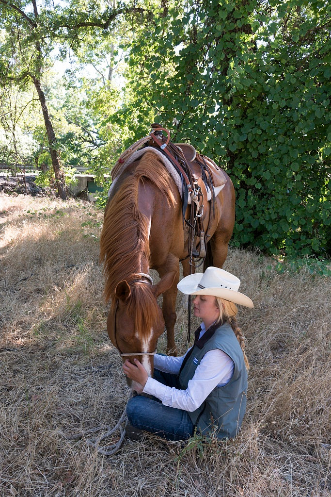 18 x 24 Photograph reprinted on fine art canvas  of Dusty de Braga and his daughter Fallon are working cowpokes who drive cattle on Dye Creek Ranch near Red Bluff California  r19 2013 June by Highsmith, Carol M.,