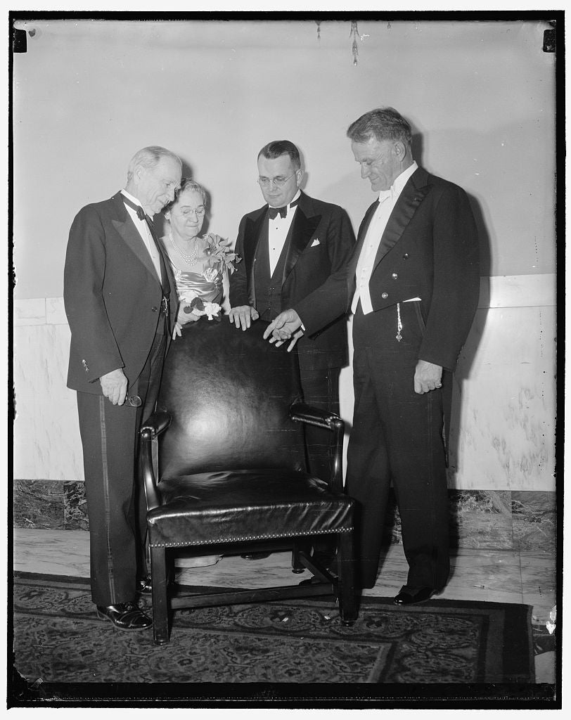 8 x 10 Reprinted Old Photo of Retiring Secretary Of Commerce Given Chair He Occupied. Washington, D.C., Dec. 22. Secretary Of Commerce Daniel C. Roper, Who Retires On December  1938 Harris & Ewing 07a