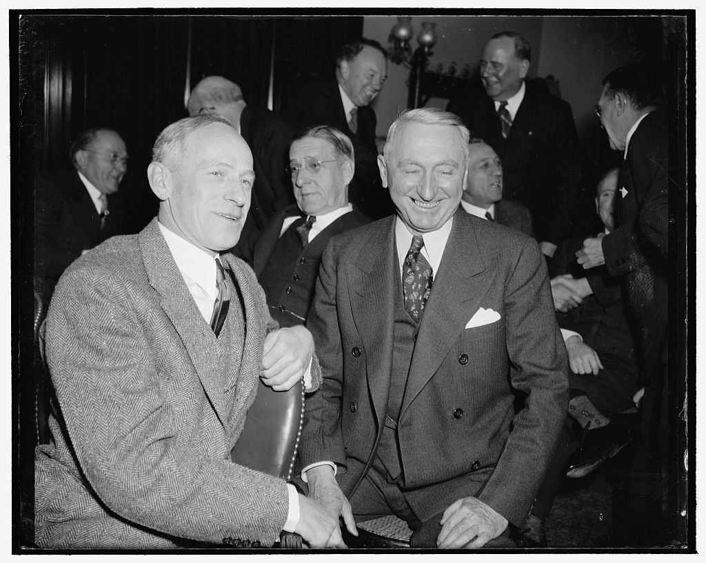 "8 x 10 Reprinted Old Photo of Purge Senators At Democratic Caucus. Washington, D.C., Dec. 31. Intended Victims Of The President's ""Purge"" Prior To The State Elections This Year 1938 Harris & Ewing 88a"