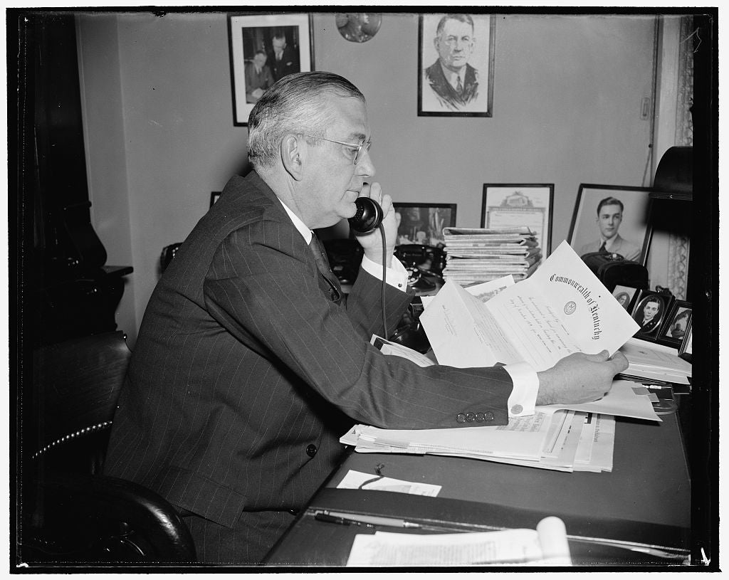 8 x 10 Reprinted Old Photo of Busy Senate Official. Washington, D.C., Dec. 28. One Of The Busiest Officials At The Capitol These Days Is Col. Edwin A Halsey, Secretary Of The U 1938 Harris & Ewing 97a