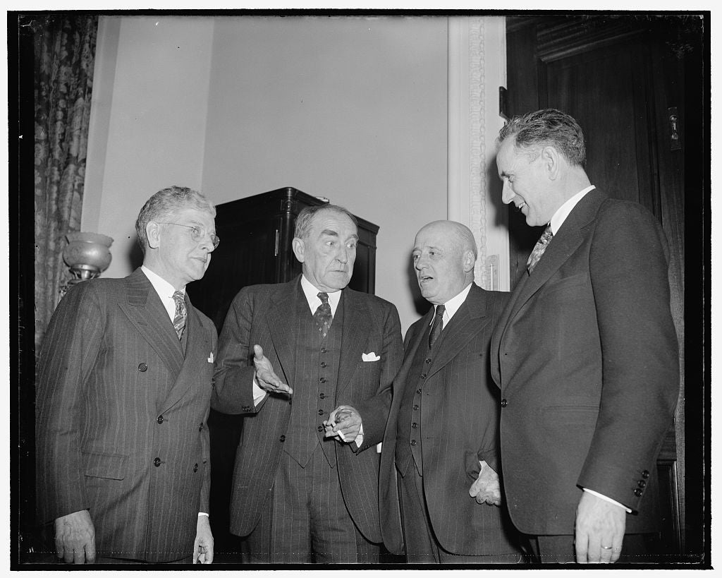 8 x 10 Reprinted Old Photo of House Democratic Leaders Holding Post Mortem Of Caucus Today. Washington, D.C., Jan. 2. After A Two Hour Session In The House Chamber This Afterno 1937 Harris & Ewing 01a