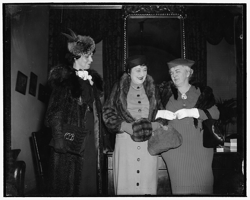 8 x 10 Reprinted Old Photo of Late Speaker's Wife Sees Son Take Oath As Member Of Congress. Washington, D.C., Jan. 3. Mrs.. Joseph W. Byrns, Right, Widow Of Late Speaker Of The 1937 Harris & Ewing 07a