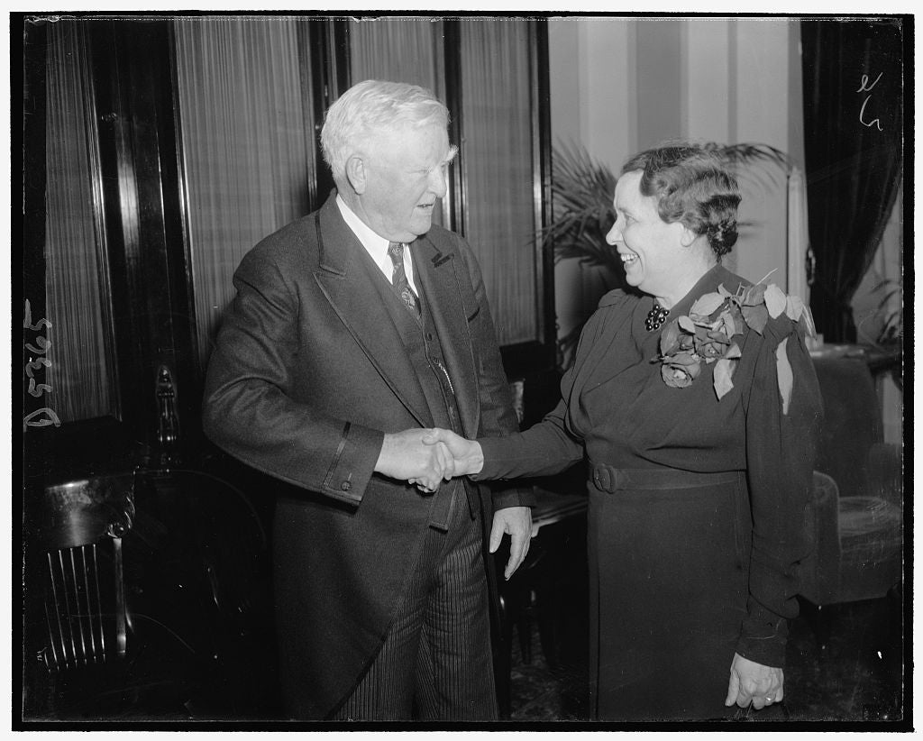 8 x 10 Reprinted Old Photo of V.P. Garner Congratulates Senator Hattie W. Caraway, Demo. Of Ark. On Her Re-Election, 1/1939 1939 Harris & Ewing 13a