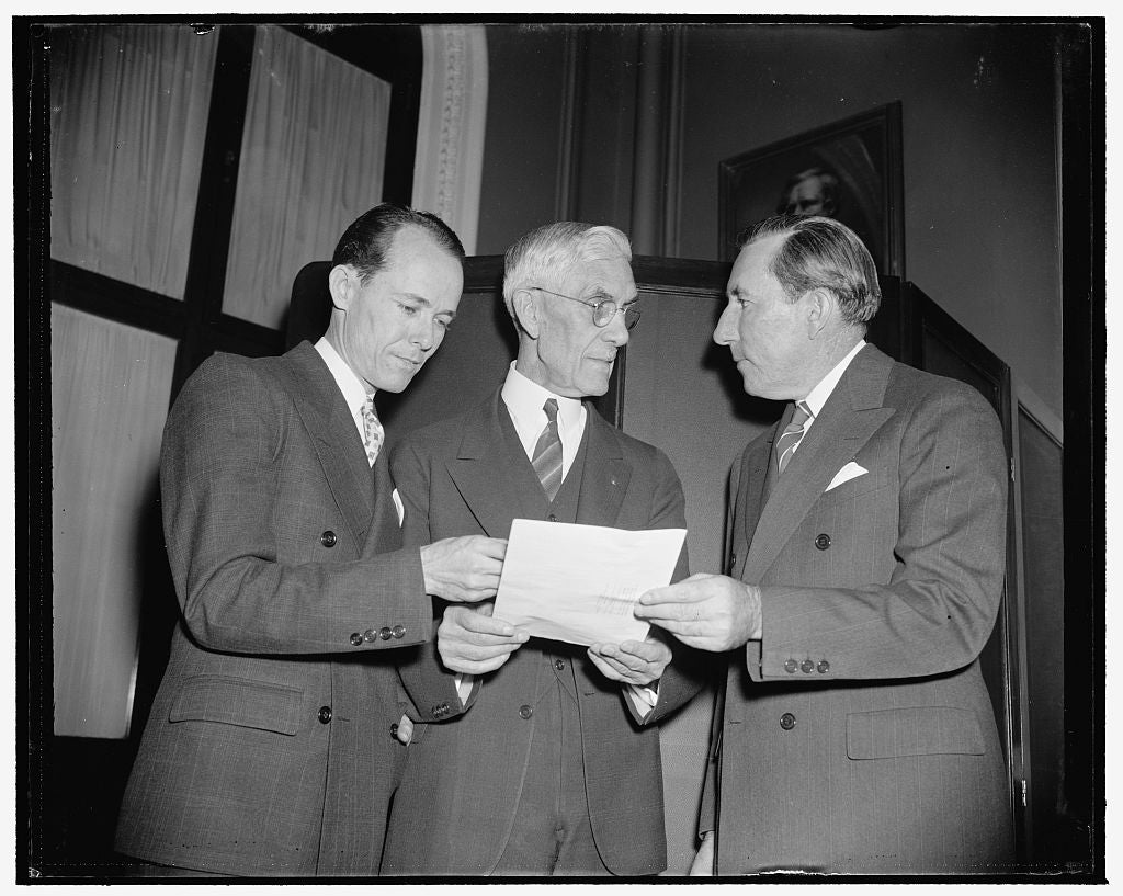 8 x 10 Reprinted Old Photo of Rep. Joseph Hendricks Of Fla.; J   Francis Townsend And Senator Claude Pepper, 1/5/39; Townsend Co 1937 Harris & Ewing 25a