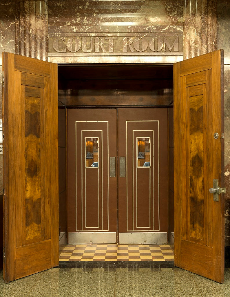 18 x 24 Photograph reprinted on fine art canvas  of Courtroom entrance. The Joel Solomon Federal Building and U.S. Courthouse Chattanooga Tennessee  r54 2013 November by Highsmith, Carol M.,