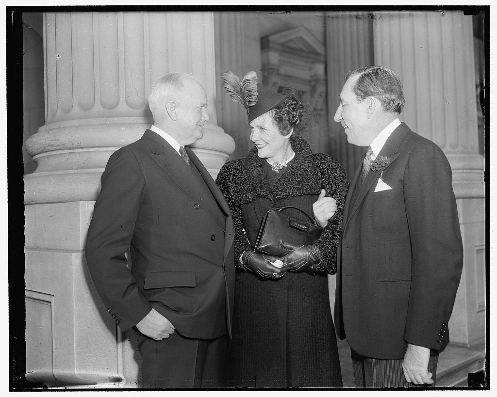 8 x 10 Reprinted Old Photo of Senator & Mrs. Claude Pepper & Bert Fish, 1/3/39 1937 Harris & Ewing 62a