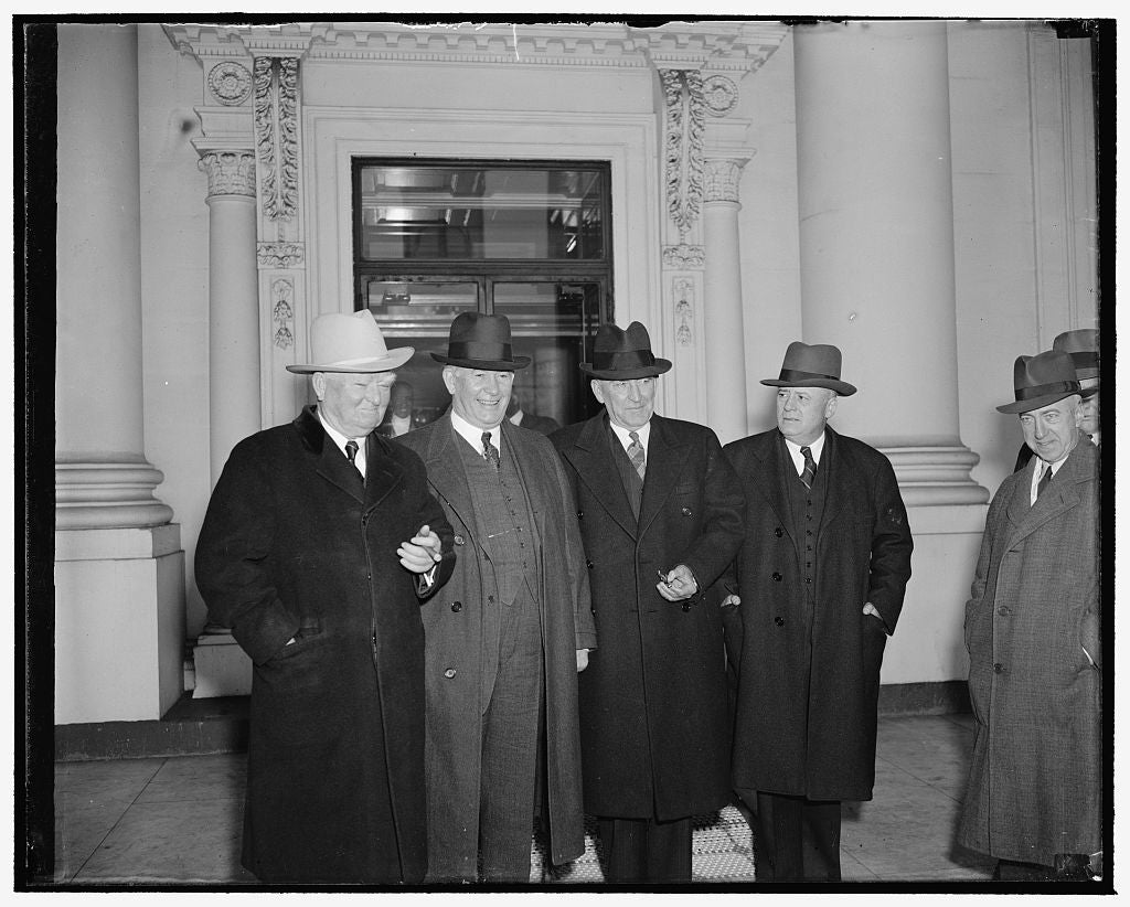 8 x 10 Reprinted Old Photo of President And Congressional Leaders Get-Together. Washington, D.C., Jan. 9. President Roosevelt Today Revived His Monday Morning White House Confe 1937 Harris & Ewing 78a