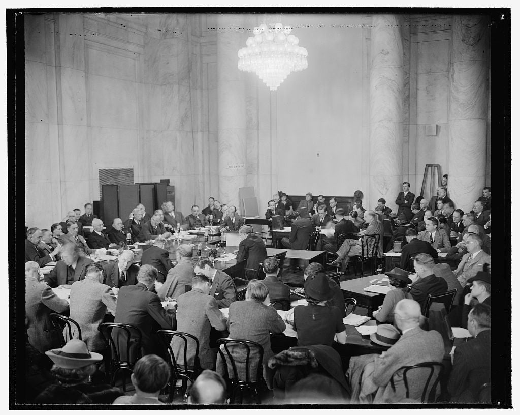 8 x 10 Reprinted Old Photo of Hopkins Takes Stand Before Senate Commerce Committee. Washington, D.C., Jan. 11. Scene At The Senate Commerce Committee Hearing Room Today As Harr 1939 Harris & Ewing 96a