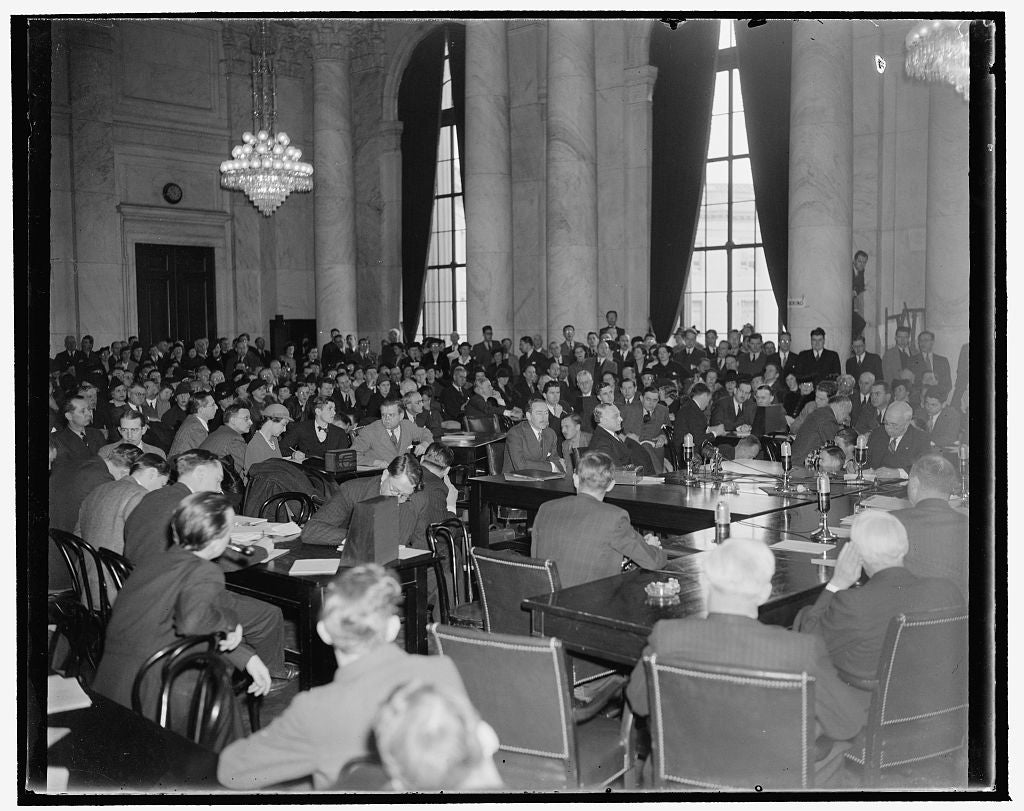 8 x 10 Reprinted Old Photo of Crowd Hears Frankfurter Before Senate Judiciary Subcommittee. Washington, D.C., Jan. 12. The S.R.O Sign Was Hung Out Today As Prof. Felix Frankfur 1939 Harris & Ewing 06a