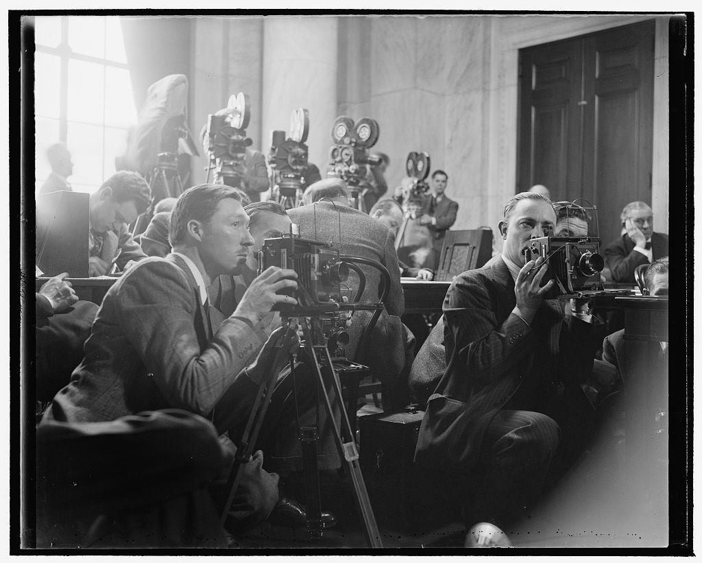 8 x 10 Reprinted Old Photo of Movies Record Frankfurter's Appearance Before Senate Committee. Washington, D.C., Jan. 12. Movie And Still Cameras Were Set At All Angles In The S 1939 Harris & Ewing 07a