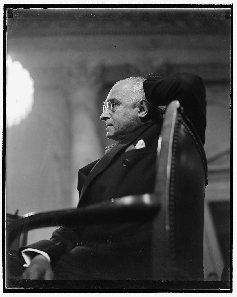 8 x 10 Reprinted Old Photo of Frankfurter Attentive. Washington, D.C., Jan. 12. With Hand Clasped Behind His Head, Felix Frankfurter Seemed Relaxed Today As Members Of The Sena 1939 Harris & Ewing 08a