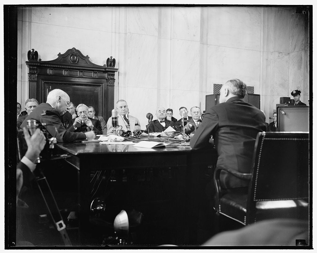 8 x 10 Reprinted Old Photo of Frankfurter Faces Senate Committee. Washington, D.C., Jan. 12. Felix Frankfurter, Right, Facing The Senate Judiciary Subcommittee Today To Answer  1939 Harris & Ewing 11a