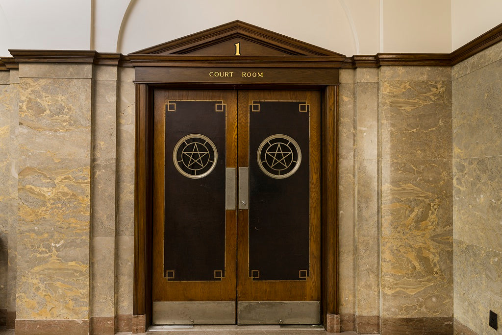 18 x 24 Photograph reprinted on fine art canvas  of Courtroom doors. The Jack Brooks Federal Building in Beaumont Texas  r34 2013 November by Highsmith, Carol M.,