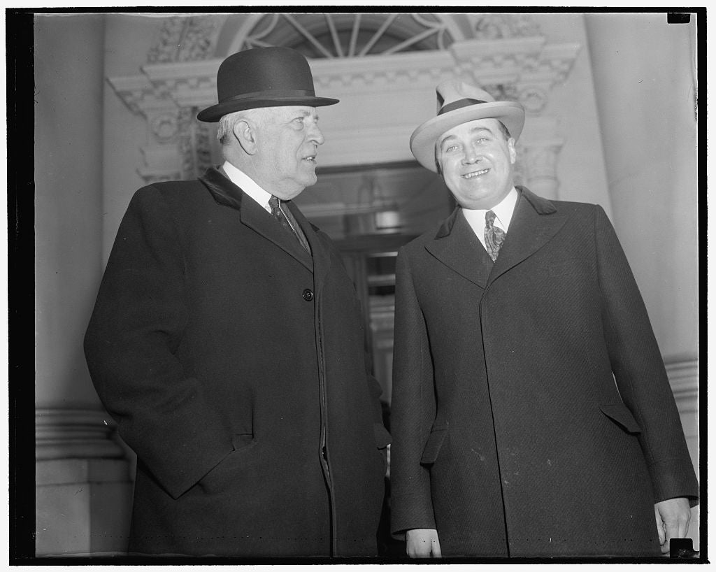 8 x 10 Reprinted Old Photo of Massachusetts Officials Call On Roosevelt. Washington, D.C., Jan. 14. Senator David. I. Walsh And States Attorney General Paul Dever Of Massachuse 1939 Harris & Ewing 28a