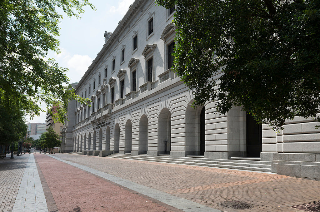 18 x 24 Photograph reprinted on fine art canvas  of John Minor Wisdom U.S. Court of Appeals Building located in the block bounded by Lafayette Camp Magazine and Capdeville Streets New Orleans Louisiana  r85 2014 June by High