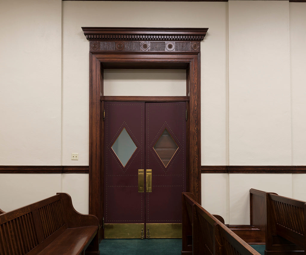 18 x 24 Photograph reprinted on fine art canvas  of Courtroom door Bruce M. Van Sickle Federal Building Minot North Dakota  r93 41908 by Highsmith, Carol M.,