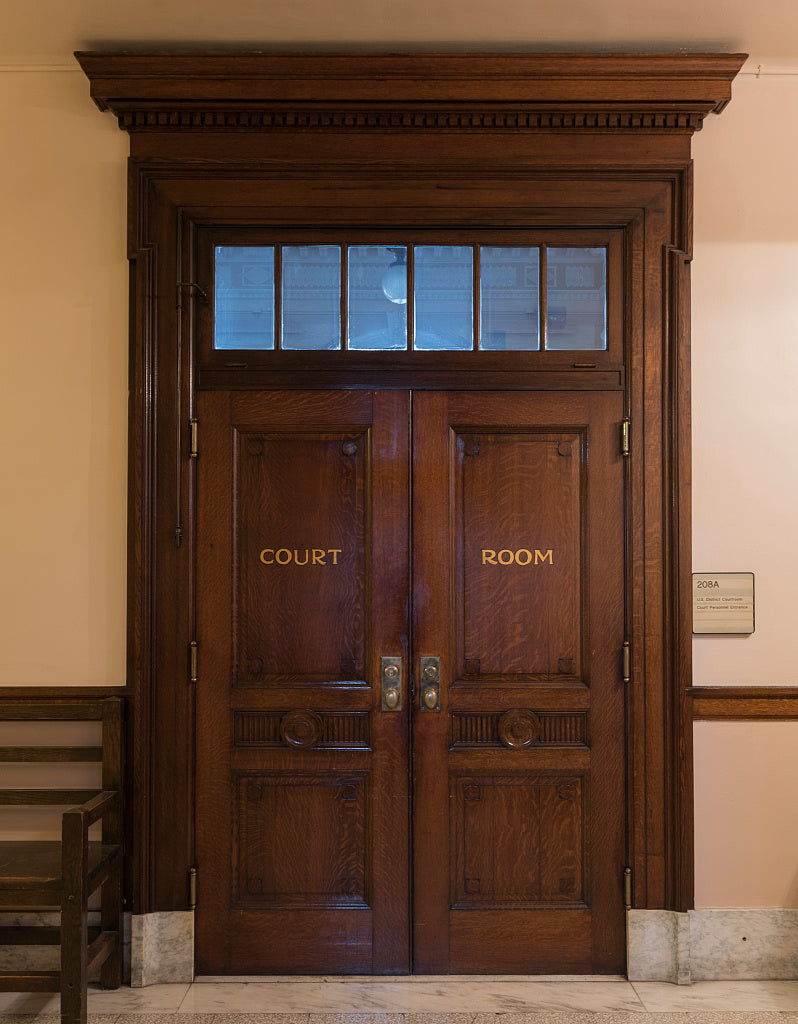 18 x 24 Photograph reprinted on fine art canvas  of Courtroom doors C. Bascom Slemp Federal Building Big Stone Gap Virginia  r15 41915 by Highsmith, Carol M.,