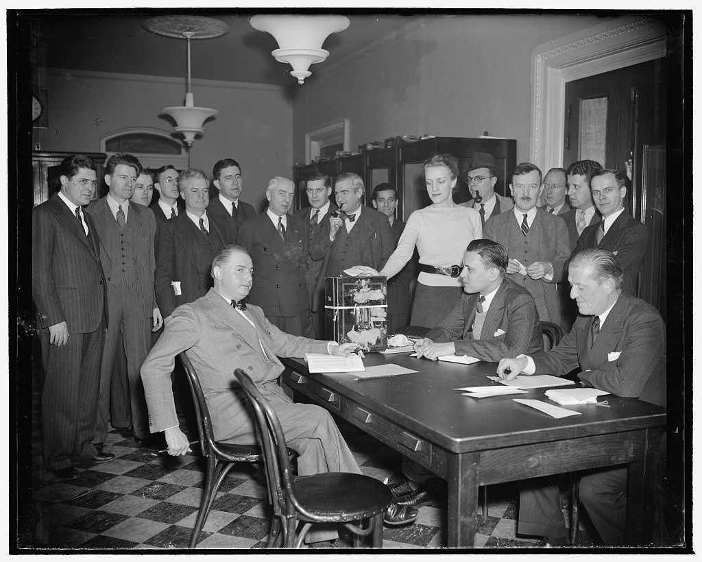 8 x 10 Reprinted Old Photo of Congress' Reporters Hold Own Elections. Washington, D.C., Jan. 20. The Biennial Election Of Press Galleries Of The House And Senate Today Cast Bal 1939 Harris & Ewing 13a