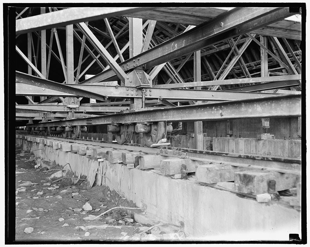 8 x 10 Reprinted Old Photo of While Construction Is Underway, The Uncompleted Sections Of The Roof Must Be Mobile In Order That A Perfect Fit May Be Made. Steel Rails Are Laid  1937 Harris & Ewing 25a