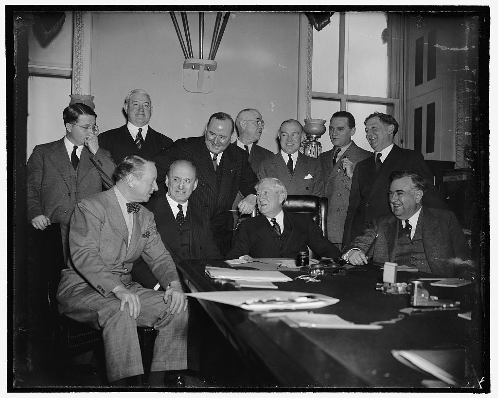 8 x 10 Reprinted Old Photo of Senate Committee Questions Morgenthau And Woodring. Washington, D.C., Jan. 27. Secretary Of The Treasury Morgenthau And Secretary Of War Harry Woo 1937 Harris & Ewing 45a