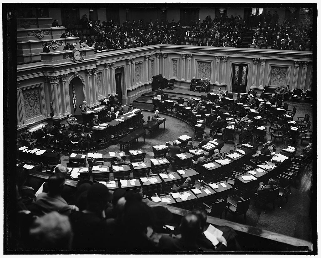 8 x 10 Reprinted Old Photo of Gen'L. View Of Senate In Session Hearing Hopkins Confirmation, 1/20/39 1937 Harris & Ewing 68a