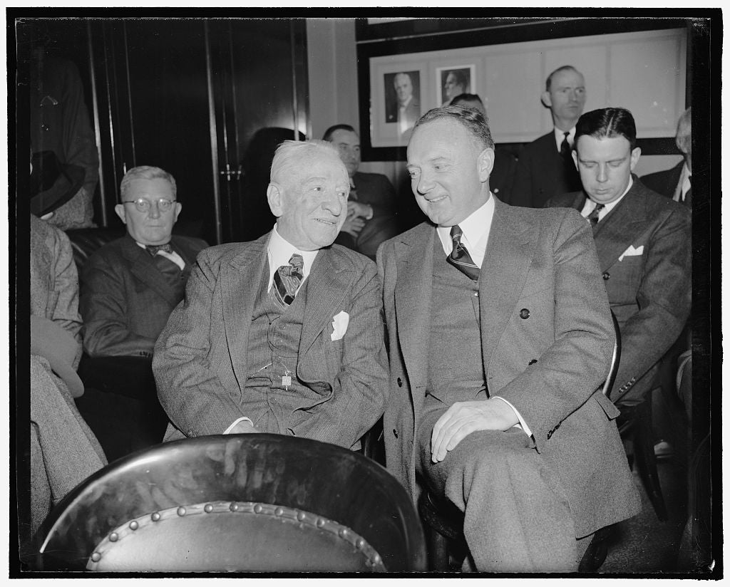 8 x 10 Reprinted Old Photo of Virginia Senators Oppose Nomination Of Floyd Roberts To Federal Judgeship. Washington, D.C., Feb. 1. Senators Carter Glass And Harry F. Byrd, Who  1937 Harris & Ewing 77a