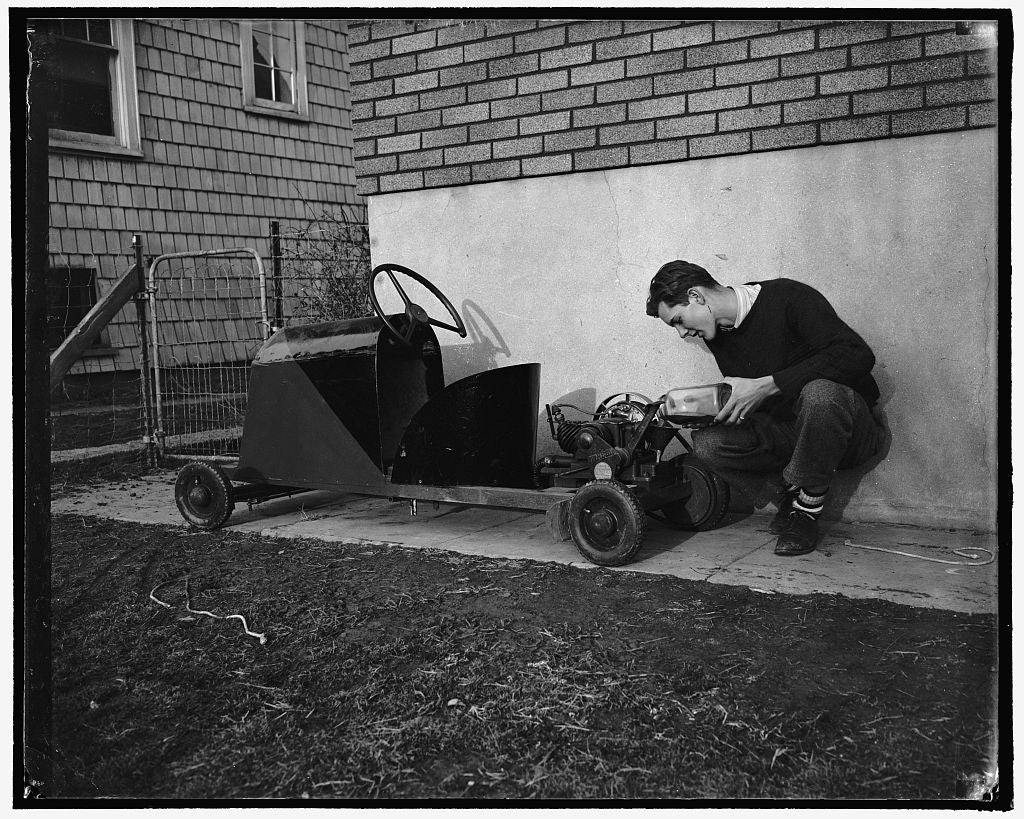 8 x 10 Reprinted Old Photo of Builds Own Jalopy. Washington, D.C., Feb. 2. Thirty Dollars Was All It Cost Robert Preston, 16-Year-Old High School Senior, To Build This Midget A 1937 Harris & Ewing 81a