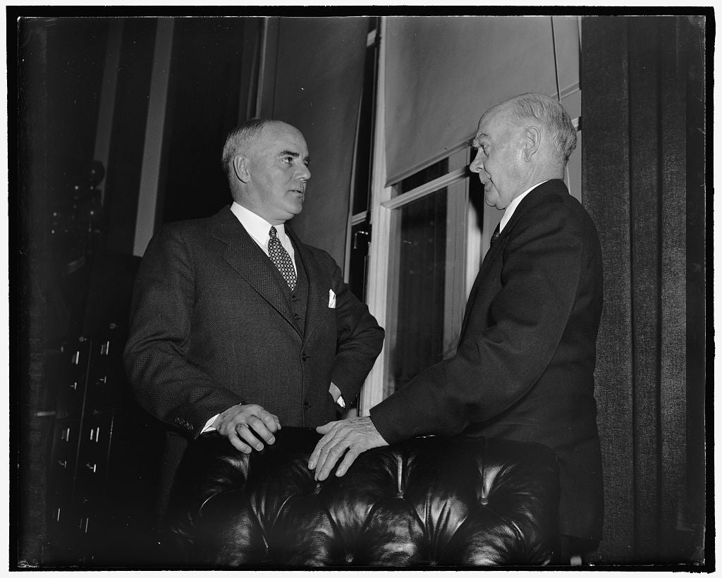 8 x 10 Reprinted Old Photo of New Evidence. Washington, D.C., Feb. 2. Rep. J. Parnell Thomas, Left, Republican Of New Jersey, Shown Here With Rep. Hatton W. Sumners, Chairman O 1937 Harris & Ewing 92a
