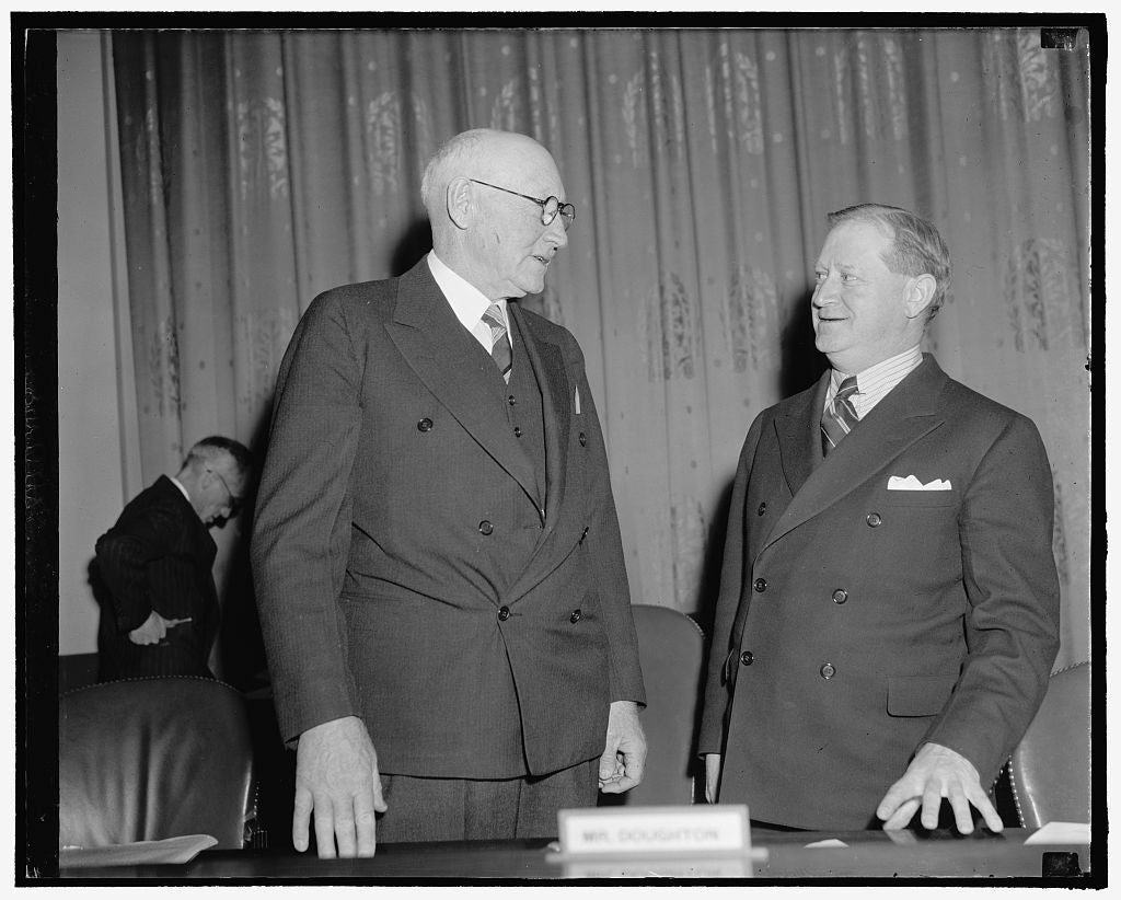 8 x 10 Reprinted Old Photo of General Welfare Movement Concludes Testimony. Washington D.C., Feb. 7. Chairman Of The House Ways And Means Committee, Robert L. Doughton, And Rep 1937 Harris & Ewing 09a