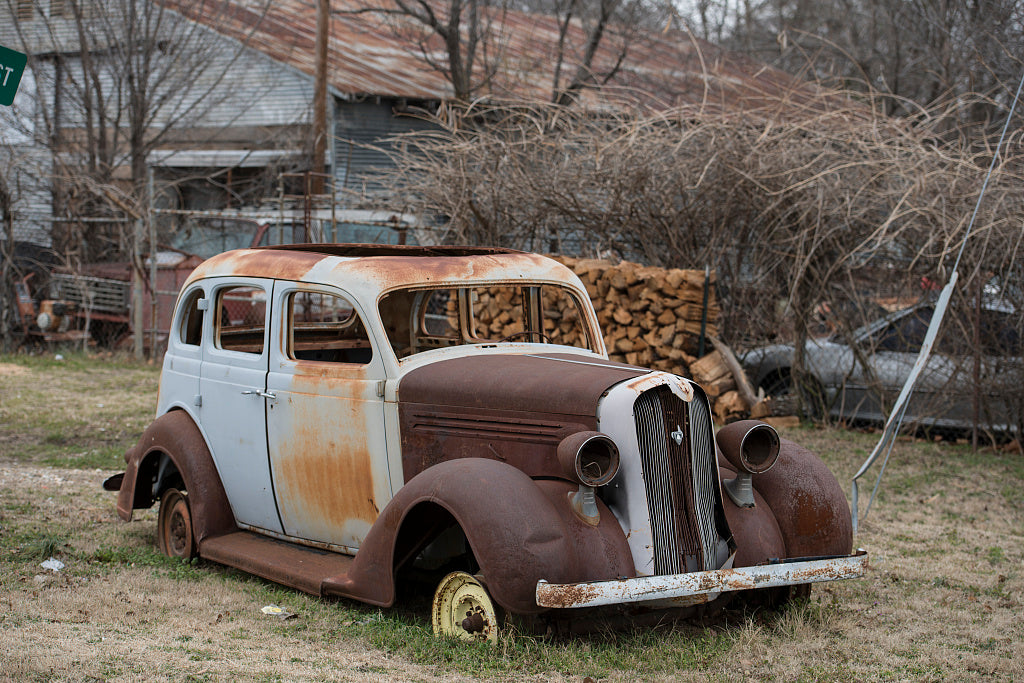18 x 24 Photograph reprinted on fine art canvas  of Whoever owns this car hasn't driven it in awhile. Bogota Texas  r15 41677 by Highsmith, Carol M.,