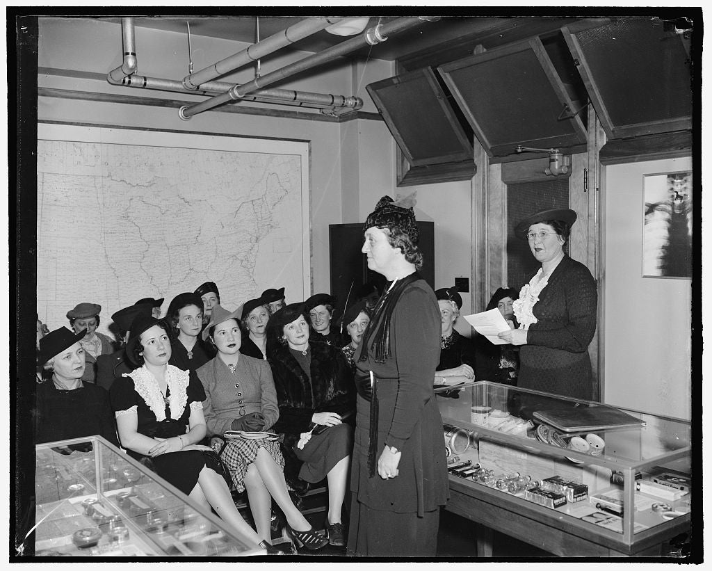 8 x 10 Reprinted Old Photo of Congressmen's Wives Learn To Speak In Class. The Congressional Public Speaking Class, Composed Of Wives Of Congressmen, Is Attempting To Teach The 1938 Harris & Ewing 24a