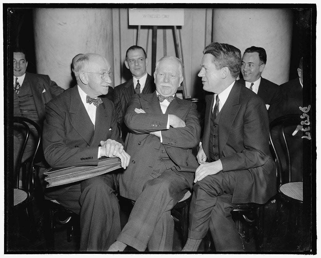 8 x 10 Reprinted Old Photo of Harry Baltome, Gen. Counsel. Thomas Buckner, Chairman Of The Board. Arthur Ballentine, Director. New York Life 1937 Harris & Ewing 63a
