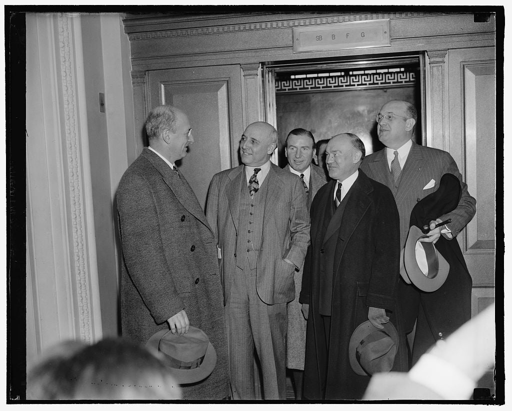 8 x 10 Reprinted Old Photo of Senate Committee Quizzes Members On Government Cooperation Given French Mission. Washington, D.C., Feb. 16. Secretary Of Treasury Henry Morgenthau 1938 Harris & Ewing 67a