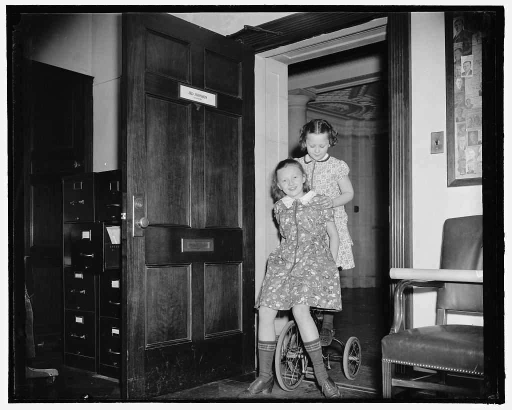 8 x 10 Reprinted Old Photo of Joan Johnson And Unidentified Girl On Bike At Office Door Of Jed Johnson, Oklahoma 1937 Harris & Ewing 73a