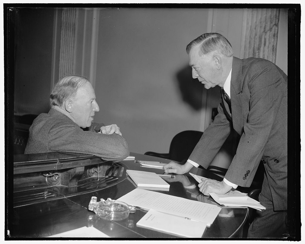 8 x 10 Reprinted Old Photo of In Huddle. Washington, D.C., Feb. 21. Assistant Secretary Of State Francis B. Sayre, Left, In A Huddle With Senator Key Pittman Following Sayre's  1938 Harris & Ewing 86a